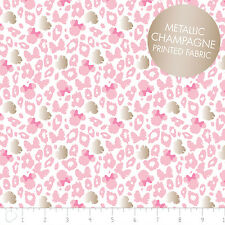Camelot Disney Minnie Leopard Print Pink Metallic 100% cotton fabric by the yard