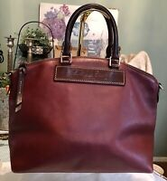 Dooney Bourke Florentine Vachetta Leather Domed Satchel Hobo Burgundy Wine Red