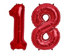"Giant 40"" 18 Hot Red Number Balloons 18th Birthday Anniversary Foil Float Helium"