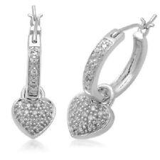 .78 CT Genuine Diamond Dangling Heart Hoop Earrings in 14k white gold Great Gift