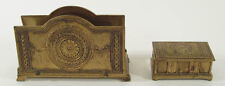 Antique Empire Style Gilt Metal Letter Rack & Stamp Box Desk Set, C.1900