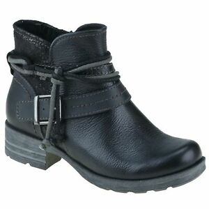 Planet Shoes Leeds Womens Comfort Ankle Boot in Black Leather