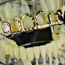 Diamond-Cut Grillz 14k Gold Plated 4-Open Face Upper Top Teeth Hip Hop Grills