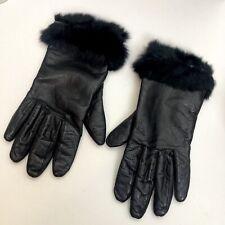 Womens Cowhide Soft Leather Genuine Fur Trimmed Gloves Black