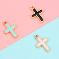 10Pcs Alloy Coin Cross Beads Charms Pendant DIY Earring Necklace Jewelry Making