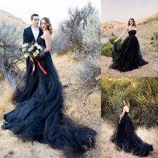Neu Schwarz Hochzeitskleider Brautkleider Vintage Tüll Liebsten Maßgeschneidert