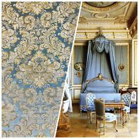 NEW! Designer Brocade Satin Fabric- Blue And Gold- Upholstery Damask