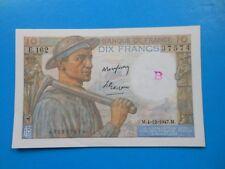 """10 francs mineur 4-12-1947 F8/19 SPL AVEC LETTRE """"B"""" dans le filigrane"""