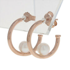 NEW Authentic Pandora Rose Contemporary Pearls Hoop Earrings - Sterling 287528P