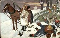 Horse Sleigh Accident Crash - Thiele??? c1910 Postcard G19