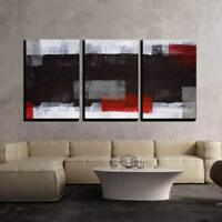 "Wall26 - Grey and Red Abstract Art Painting - Canvas Wall Art - 24""x36""x3 Panels"
