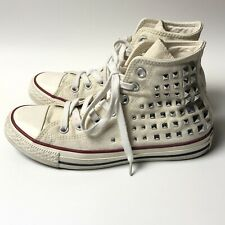 Women's White Converse High Tops with Silver Studs Size 6 Studded