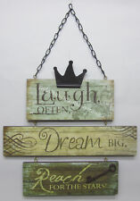 Rustic Country Wooden Wall Sign Laugh Often Dream Big Reach For The Stars