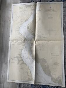 Original Nautical Chart Map Delaware River Bombay Hook to Wilm. Issued 1935.