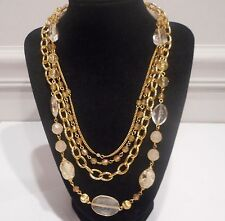 Robert Rose, Lucite Bead,Plated Gold Tone Metal Chain Link Multi Strand Necklace