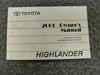 2001 Toyota Highlander SUV Owner Owner's Manual User Guide Book V6 AWD 2.4L 3.0L