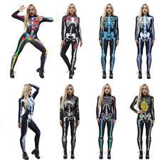 3D Print Halloween Women Skeleton Bone Frame Jumpsuit Bodysuit Cosplay Costume