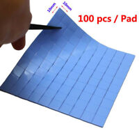 100pcs 10*10*0.5mm GPU CPU Heatsink Cooling Thermal Conductive Silicone Pad Blue