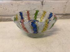 Vintage Murano Glass Italy Latticino Multicolored Ruffled Bowl