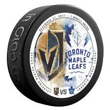 VEGAS KNIGHTS vs TORONTO MAPLE LEAFS Souvenir NHL Matchup Hockey Puck 12/31/17