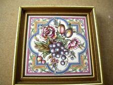 Ceramic Tile floral design (framed in wooden gold coloured frame)