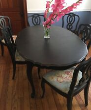 Bassett Cherry Wood Solid Dining Set French Provincial Table and 6 Chairs Black