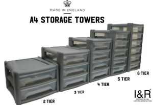 New A4 Plastic Storage Tower Drawers 3 4 5 6 Tier Office School Stationary
