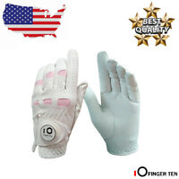 Golf Gloves Women Leather Left Hand Right with Ball Marker Pack Medium Small US
