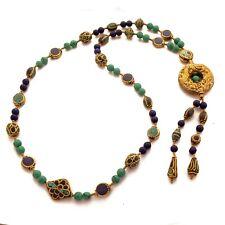 "Turquoise Lapis Brass Ethnic Necklace 26"" Bohemian Nepalese Handmade Nepal NB136"