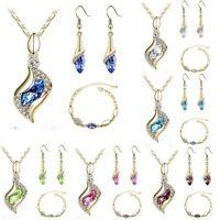 Woman's 18k Gold Plated Jewelry Set Crystal Pendant Necklace Earrings Bracelet