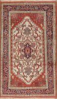 Geometric Ivory Heriz Serapi Area Rug Wool Hand-Knotted Home Decor Carpet 3'x5'