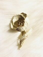 Vintage Signed Crown Trifari White Metal Flower Rhinestone Brooch Pin --HTF