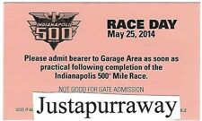 INDY INDIANAPOLIS 500 2014 AFTER RACE GARAGE TICKET