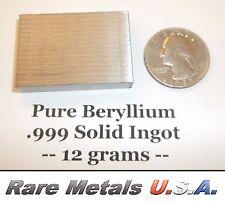 BERYLLIUM: 12 GRAMS PURE 99.9% | ELEMENT SAMPLE .999 X-RAY BAR | RARE METALS USA