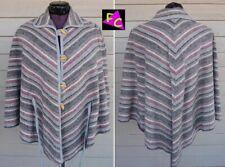 70s 80s Boho New Wave shawl Tunic One Size gray Hippy Cape Chevron Made In Usa