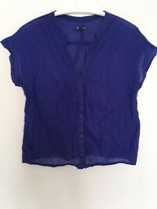 GAP Sz L Womens Shirt Tshirt Buttons Blue Short Sleeve 12 40 V Blouse Top Tunic