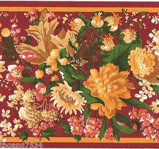Red Floral Flower Rose Sunflower Autumn Fall Orange Leaf Wallpaper Border