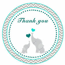40 Thank you Label Stickers Elephant Baby Shower Party Favors Chevron Teal  A1