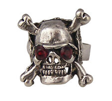 SKULL BONE DEATH RING METAL RHINESTONE 32