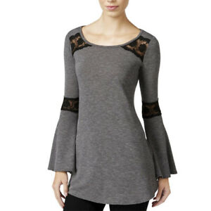 BCX Juniors Lace Trim Scoop Neck Casual Top, Charcoal, Small