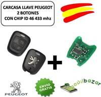 LLAVE CARCASA Peugeot 106 107 206 207 407 MANDO 2 BOTONES HDI CHIP ID46 433 MHZ