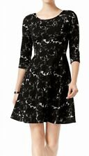 Taylor Womens Sweater A-Line Dress Black Size 14 Abstract Fit & Flare $118 246