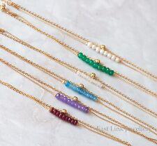 14K gold plated beaded chain birthstone bracelet natural stone birthday womens