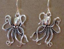 SILVER PIERCED EARRINGS DANGLING OCTOPUS CURLING TENTACLES SEA REEF MARINE LIFE
