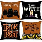 Fall Happy Halloween Throw Pillow Covers 18x18 Set of 4 Holiday Pillowcase Decor