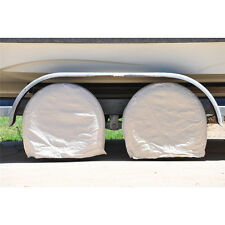 """New 28"""" 4Pc Beige Canvas Wheel Tire Covers For RV Trailer Camper Car Truck Motor"""