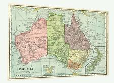Map Of Australia 1915 vintage old printed print canvas 120cm x 100cm  maps