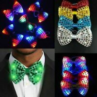 LED Flashing Light Up Sequin Bowtie Necktie Bow Tie Wedding Party Favors be I6M7