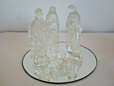 Clear Glass 6pc with Round Mirror Nativity Creche Figures Set Christmas Holiday