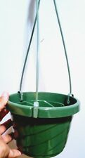 "6"" Green Plastic Hanging Basket Pot for Plants, 3 detachable Hangers with Hook"